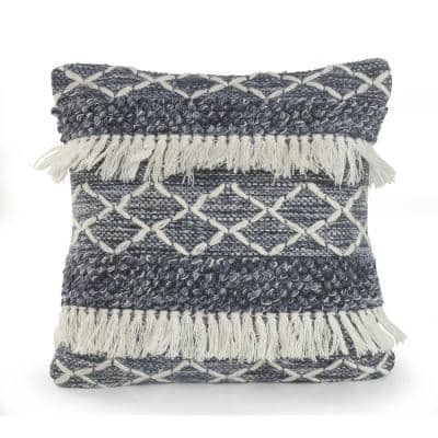 20 in. x 20 in. Fuzz Navy/Ivory Textured with Fringe Wool Standard Throw Pillow