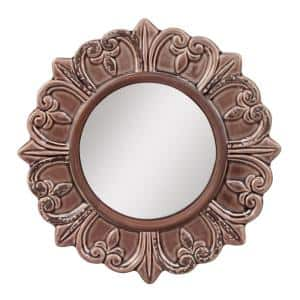 Small Round Deep Taupe French Provincial Mirror (9 in. H x 9 in. W)