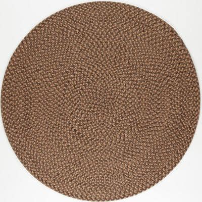 Westport Shades of Brown 8 ft. x 8 ft. Round Indoor/Outdoor Braided Area Rug