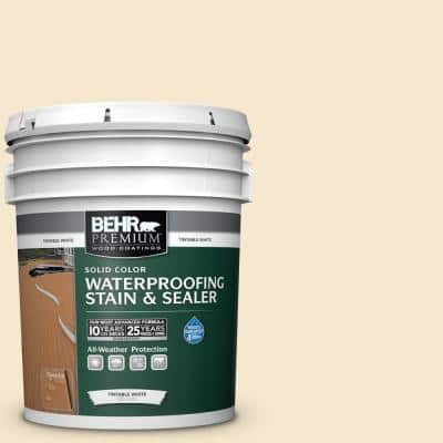 5 gal. White Base Solid Color Waterproofing Exterior Wood Stain and Sealer