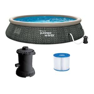 Quick Set Ring Dark Grey Herringbone 15 ft. Round 36 in. D Inflatable Pool