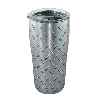 Diamond Plate 20 oz. Stainless Steel Tumbler with Lid