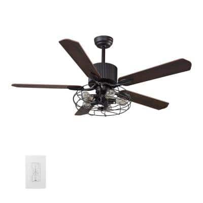 Heritage 52 in. Indoor Dark Brown Smart Ceiling Fan with Light Kit and Wall Control, Works with Alexa/Google Home/Siri