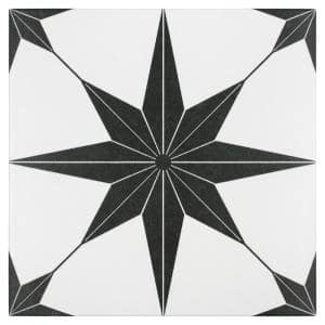 Stella Nero Encaustic 9-3/4 in. x 9-3/4 in. Porcelain Floor and Wall Tile (11.11 sq. ft. / case)