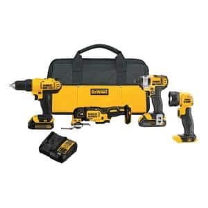 20-Volt MAX Cordless Combo Kit (4-Tool) with (2) 20-Volt 1.5Ah Batteries & Charger