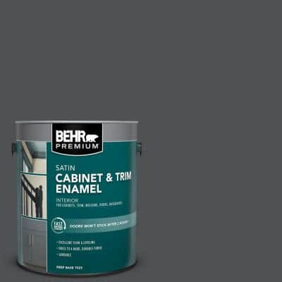 1 gal. #PPU18-01 Cracked Pepper Satin Enamel Interior Cabinet and Trim Paint