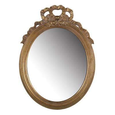 25.6 in. x 18.5 in. Classic Round Framed Gold Accent Mirror