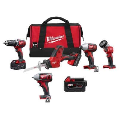 M18 18-Volt Lithium-Ion Cordless Combo Tool Kit (4-Tool) with 5.0Ah Battery and 3/8 in. Impact Wrench