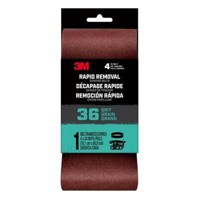 Rapid Removal 4 in. x 24 in. 36-Grit Power Sanding Belt (Case of 10)