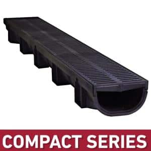 Compact Series 5.4 in. W x 3.2 in. D x 39.4 in. L Trench and Channel Drain with Black Grate
