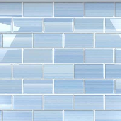 Big Blue 3 in. x 6 in. Glass Tile for kitchen Backsplash and Showers (10 sq. ft./per Box)