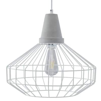 Chimm 1-Light White with Cement Gray Cage Pendant