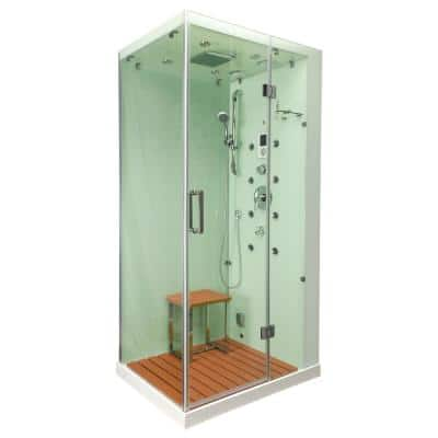 Jupiter Plus 43 in. x 31 in. x 86 in. Steam Shower Enclosure Kit in White with Right Hand Side Unit