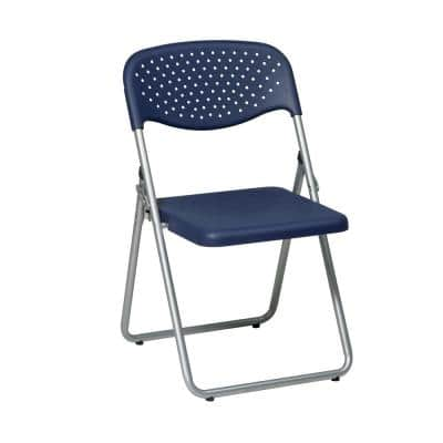 Blue Plastic with Silver Metal Frame Stackable Folding Chair (Set of 4)