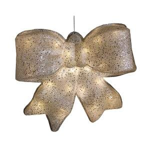 15.5 in. H x 16 in. W Silver Glittered Battery Operated Lighted LED Christmas Bow Decoration