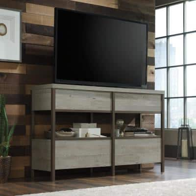 Manhattan Gate 60 in. Mystic Oak Particle Board TV Stand with 4 Drawer Fits TVs Up to 60 in. with Cable Management