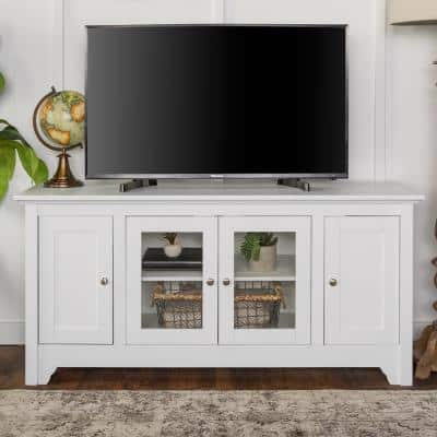 Carolina 53 in. White Wood TV Stand 55 in. with Glass Doors