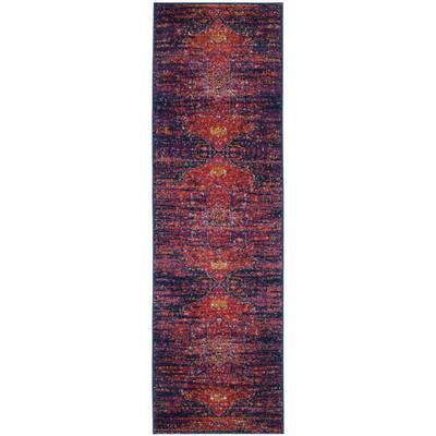 Evoke Blue/Fuchsia 2 ft. x 17 ft. Border Runner Rug