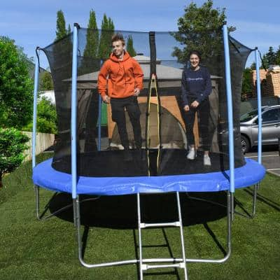 12 ft. Trampoline with Safety Net and Ladder in Black and Blue
