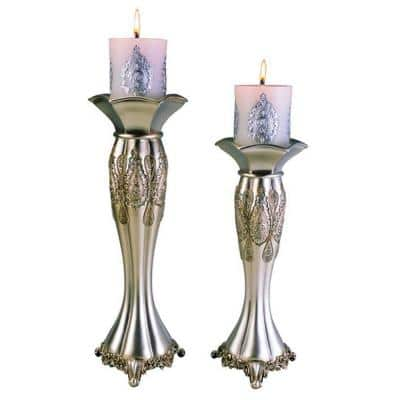 12 in. and 14 in. Traditional Royal Silver Metallic Candle Holder Set