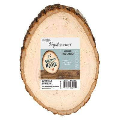 Project Craft DIY Natural Round Wood Slice with Raw Edges for Craft Painting and Decor