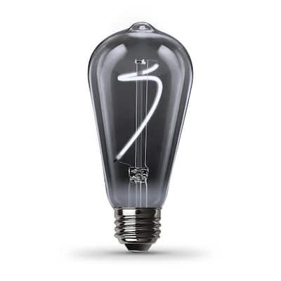25-Watt Equivalent ST19 Dimmable Spiral Filament Smoke Glass E26 Vintage Edison LED Light Bulb, Daylight
