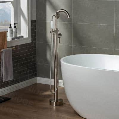 Eureka Single-Handle Freestanding Tub Faucet with Hand Shower in Brushed Nickel