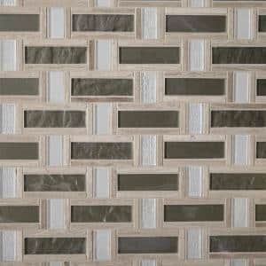 Stone Decor Greystone 12 in. x 12 in. x 6.35 mm Stone and Glass Basket Weave Mosaic Wall Tile (1 sq. ft./Each)