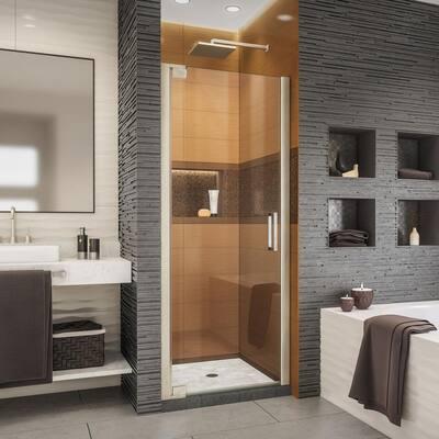 Elegance-LS 32-1/4 in. to 34-1/4 in. W x 72 in. H Frameless Pivot Shower Door in Brushed Nickel