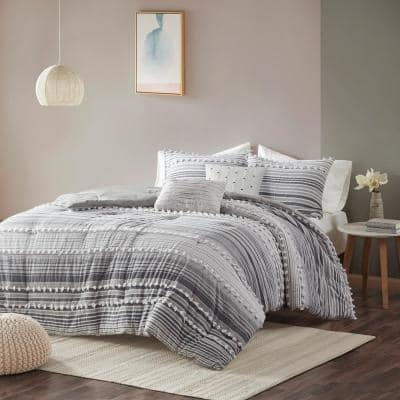 Charlie 5-Piece Grey Stripes and Plaids Cotton Jacquard Full/Queen Comforter Set