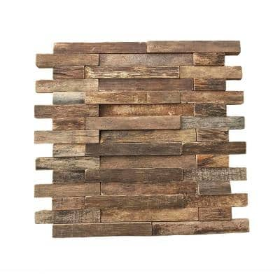 11-7/8 in. x 11-7/8 in. x 1/2 in. Interlocking Boat Wood Mosaic Wall Tile Natural (11-Pack)