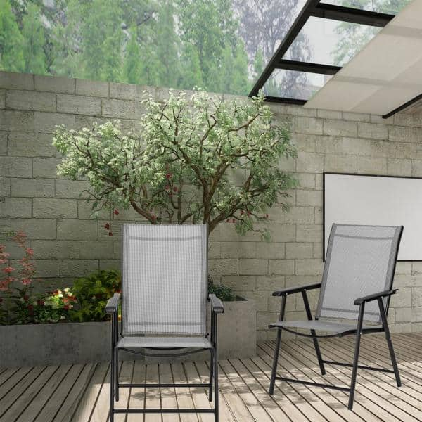 Casainc Folding Metal Outdoor Dining Chair In Light Gray 2 Pack Orby W41929516 The Home Depot