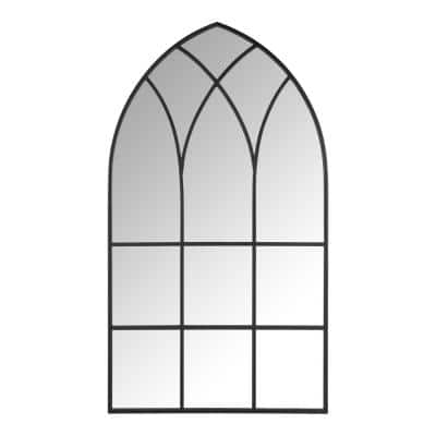 Large Arched Black Windowpane Classic Accent Mirror (43 in. H x 24 in. W)