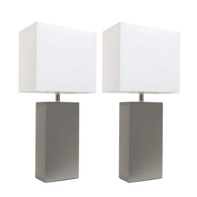 21 in. Modern Gray Leather Table Lamps with White Fabric Shades (2-Pack)