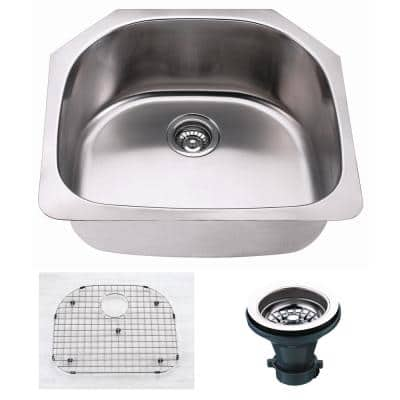 Oceanus Undermount 18-Gauge Stainless Steel 23.5 in. Single Bowl Kitchen Sink with Grid and Strainer