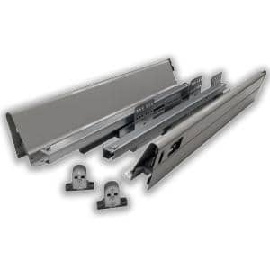 12 in. Gray Soft Close Full Extension Double Wall Lower Drawer Set (1-Pair)