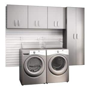 Modular Laundry Room Storage Set with Accessories in Platinum Carbon Fiber (4-Piece)