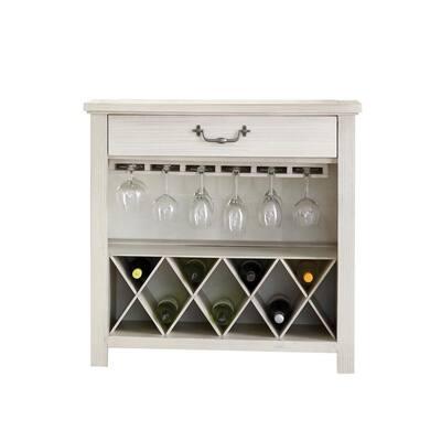 Harper's Branch Off White Wine Rack with Bottle and Stemware Storage