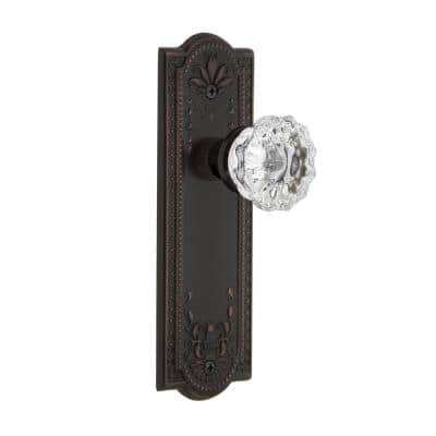 Meadows Plate 2-3/8 in. Backset Timeless Bronze Privacy Bed/Bath Crystal Glass Door Knob