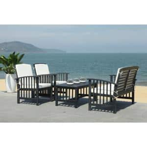 Rocklin Black 4-Piece Wood Patio Conversation Set with White Cushions