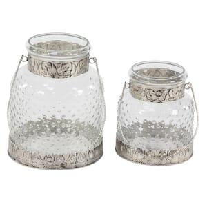 Clear Glass Farmhouse Candle Lantern (Set of 2)