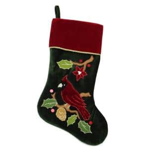 20 in. Red and Green Velveteen Cardinal Embroidered Polyester Christmas Stocking