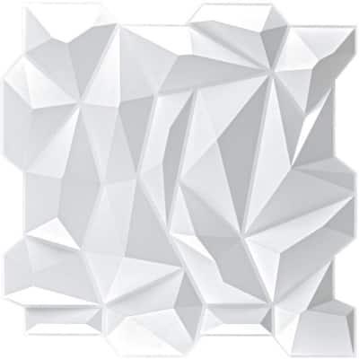 Diamond Decorative 3D PVC Wall Panel Jagged Matching-Matt White 19.7 in. x 19.7 in. (28.5 sq. ft. /Box)