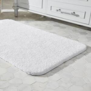 White 24 in. x 40 in. Plush Nylon Non-Skid Bath Rug