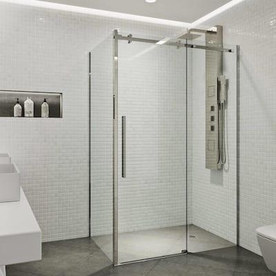 Alameda 48 in. x 74 in. Frameless Sliding Shower Enclosure in Stainless Steel
