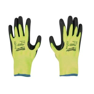 Large High Visibility Level 2 Cut Resistant Polyurethane Dipped Work Gloves (3-Pack)