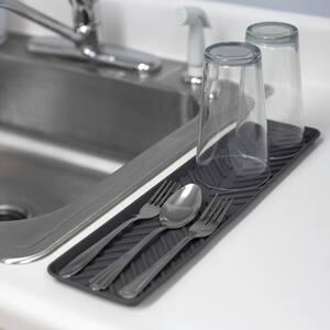 Grey Ridged Plastic Non-Skid Dish Drying Mat