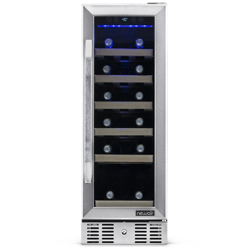 Newair Single Zone 19 Bottle Built In Compact Size Wine Cooler Fridge With Precision Digital Thermostat Stainless Steel Awr 190sb The Home Depot