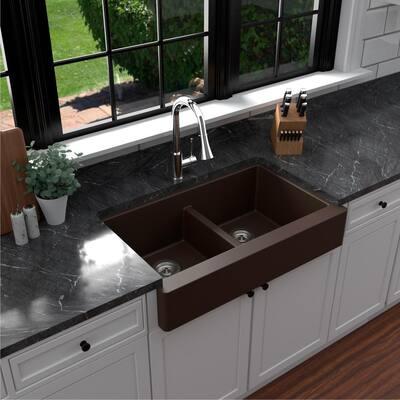 Retrofit Farmhouse Apron Front Quartz Composite 34 in. Double Bowl Kitchen Sink in Brown