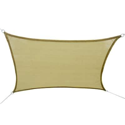 16 ft. x 20 ft. Sand Rectangle Outdoor Patio Sun Sail Shade Canopy